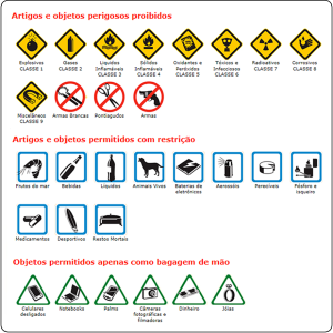 Objetos permitidos ou proibidos em voos internacionais